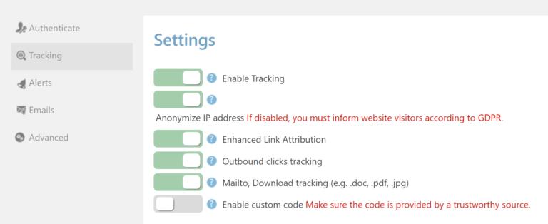 10WebAnalytics Tracking Settings