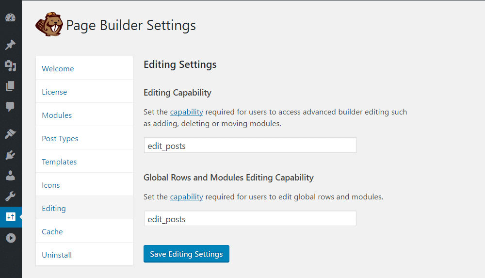 Define who can use which features of Beaver Builder