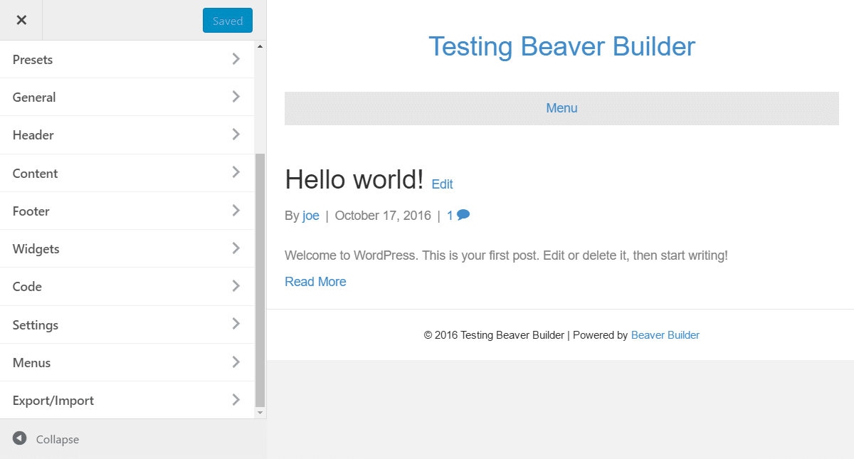 Beaver Builder Theme Customizer
