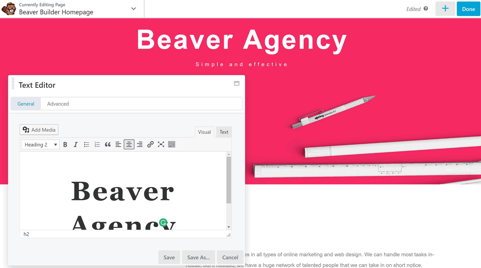 Beaver Builder Text Editor