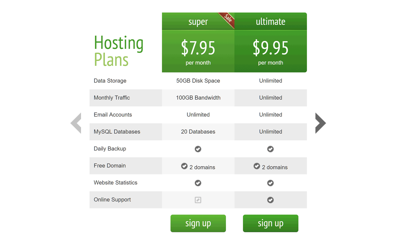 CSS3 Pricing Table Plugin 02