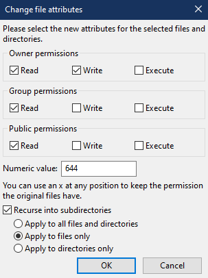 The file permissions screen, with settings adjusted for files.