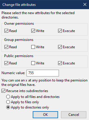 The file attributes screen, with the settings adjusted for folders.