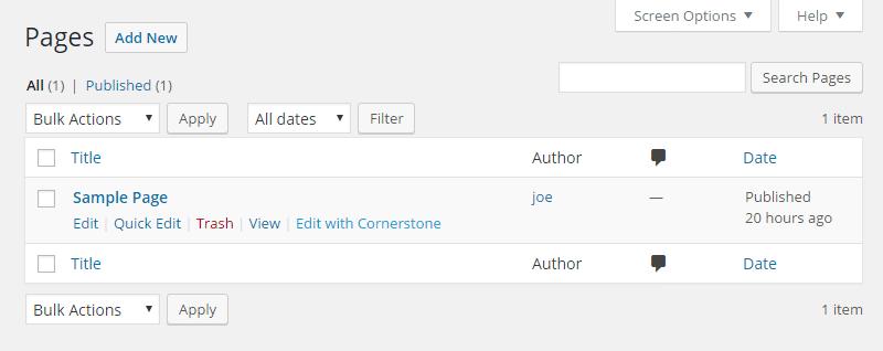 Cornerstone Review Page Menu