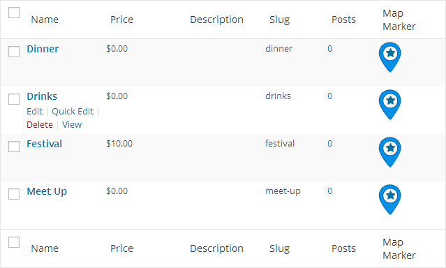 Directory Payment Category Pricing