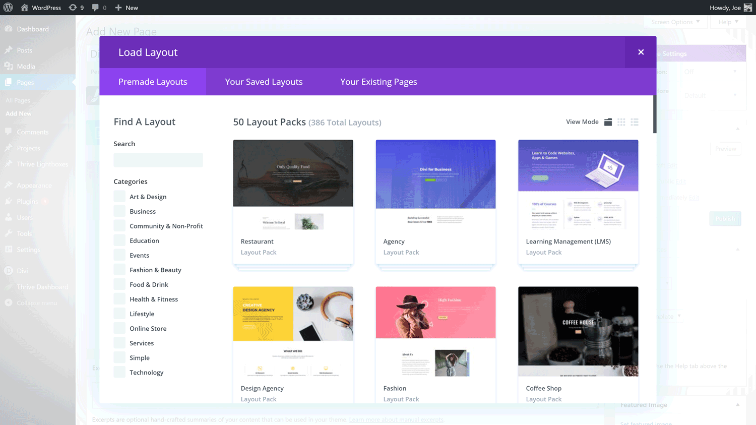 Divi Website Layout Preview