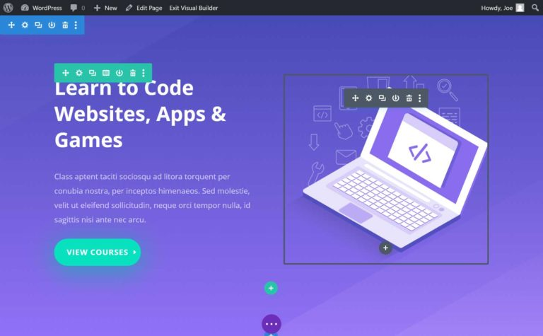 Divi Page Builder Interface