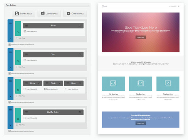 The old Divi page builder interface
