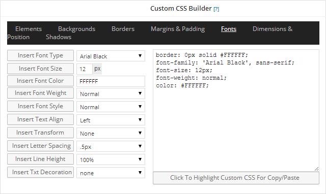 Custom CSS Builder