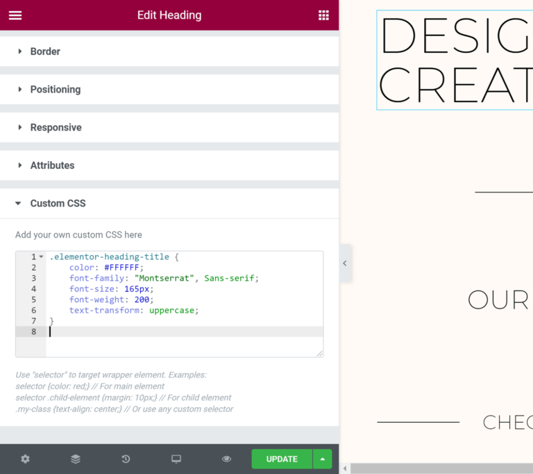 Custom CSS Panel