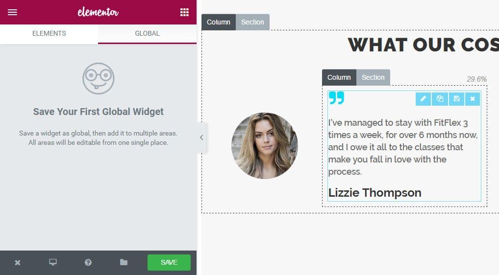 Global widgets