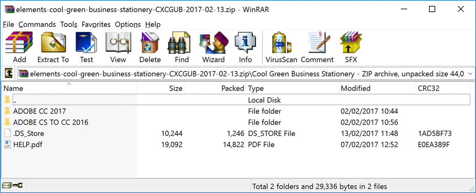 Viewing the files in Winrar