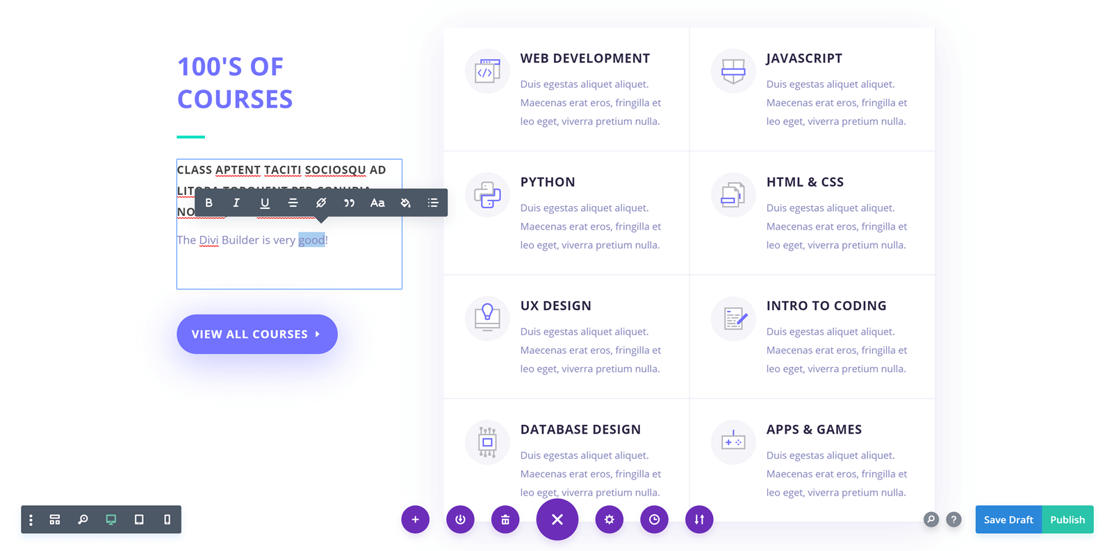 Divi Builder Text Editing