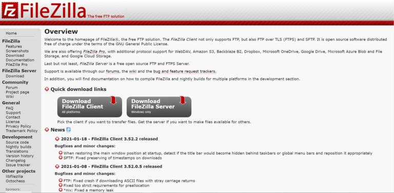 The FileZilla home page.