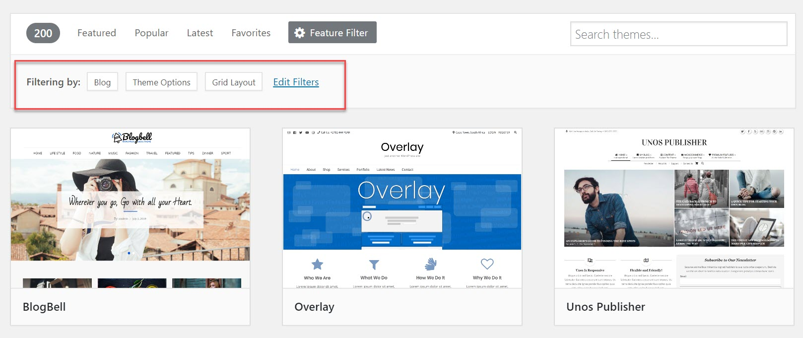 Feature Filter search results