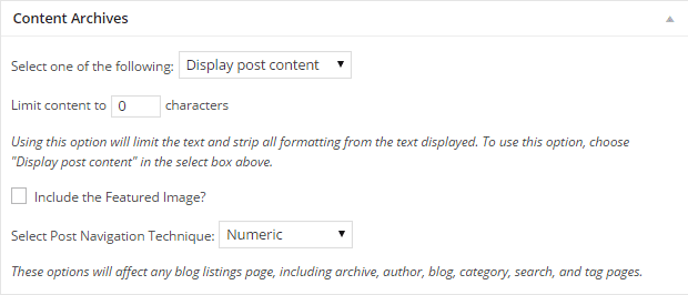 Content Archive Settings
