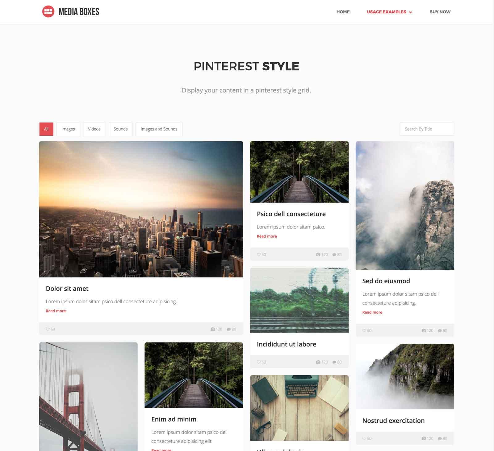 Media Boxes Portfolio Pinterest Layout