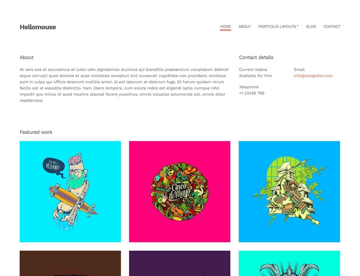 hellomouse-minimal-portfolio-wordpress-theme