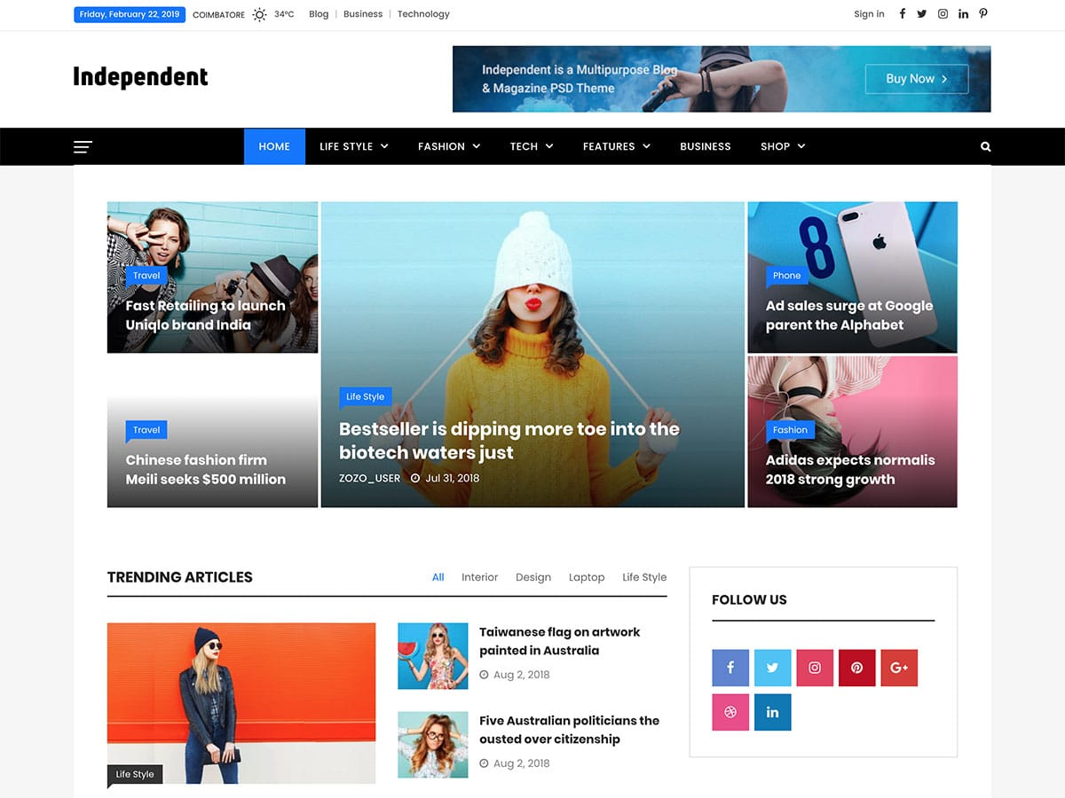 Independent magazine wordpress