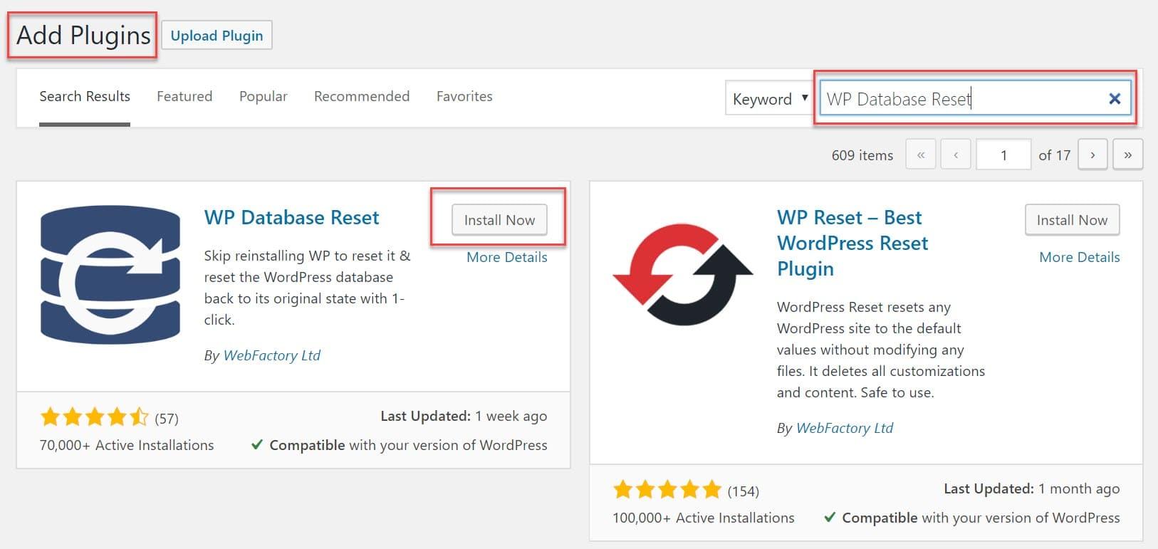 Install WP Database Reset