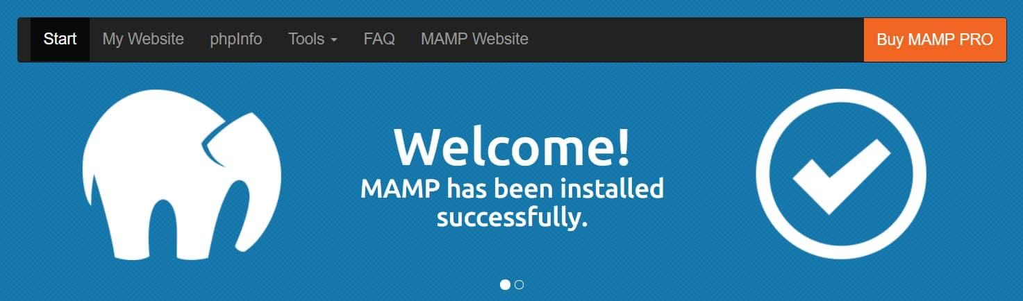 MAMP server homepage