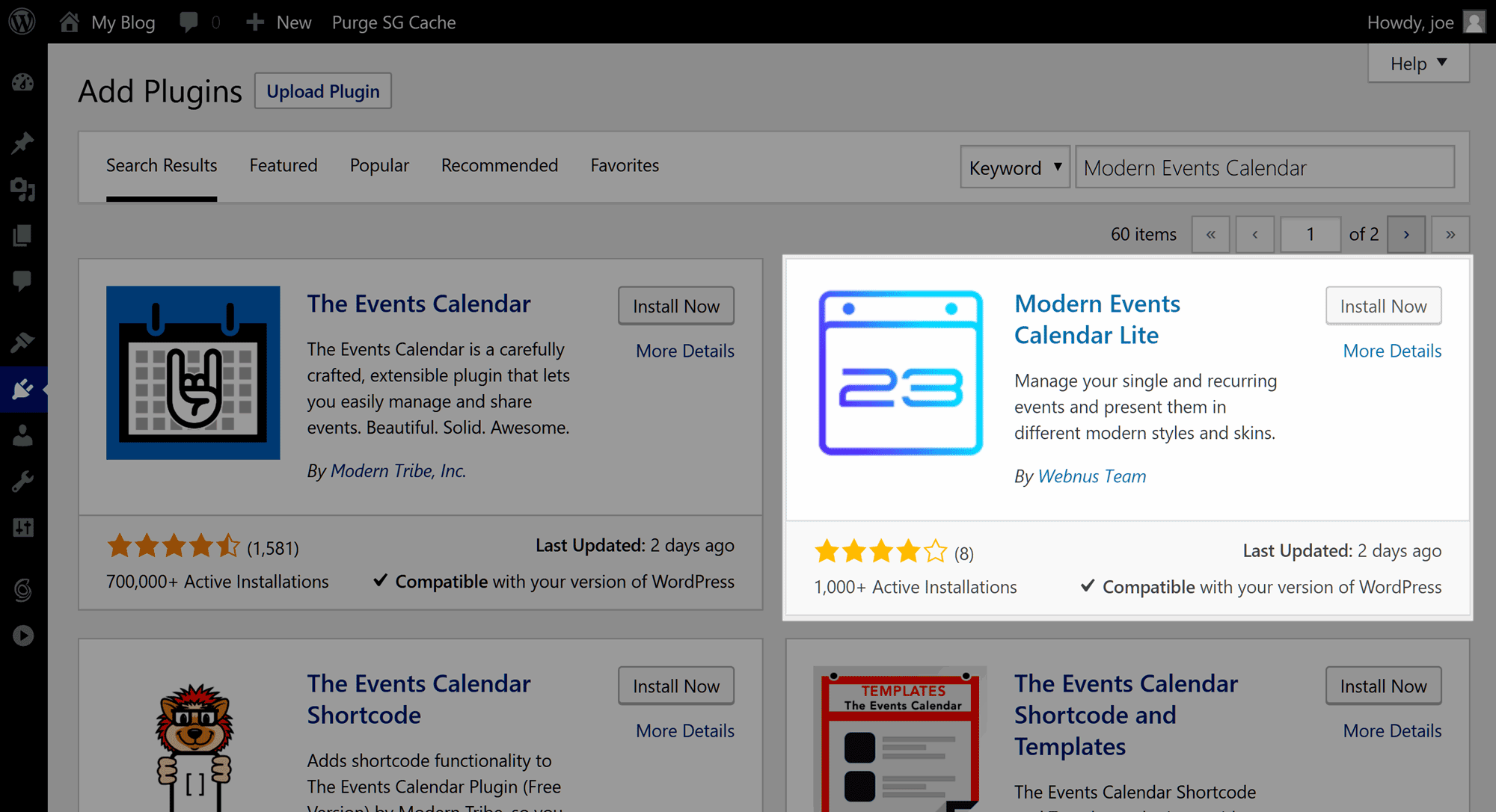 Install Modern Events Calendar Plugin