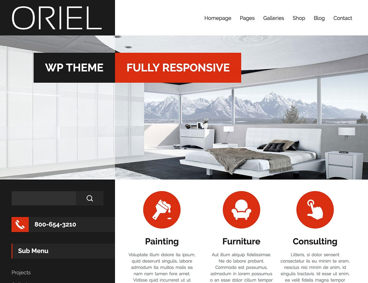 Oriel Interior Design Wordpress Theme