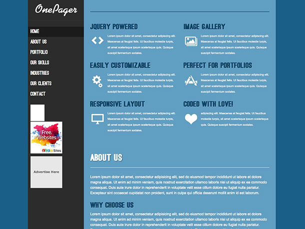 15 free one page wordpress themes 2015, Powerpoint templates