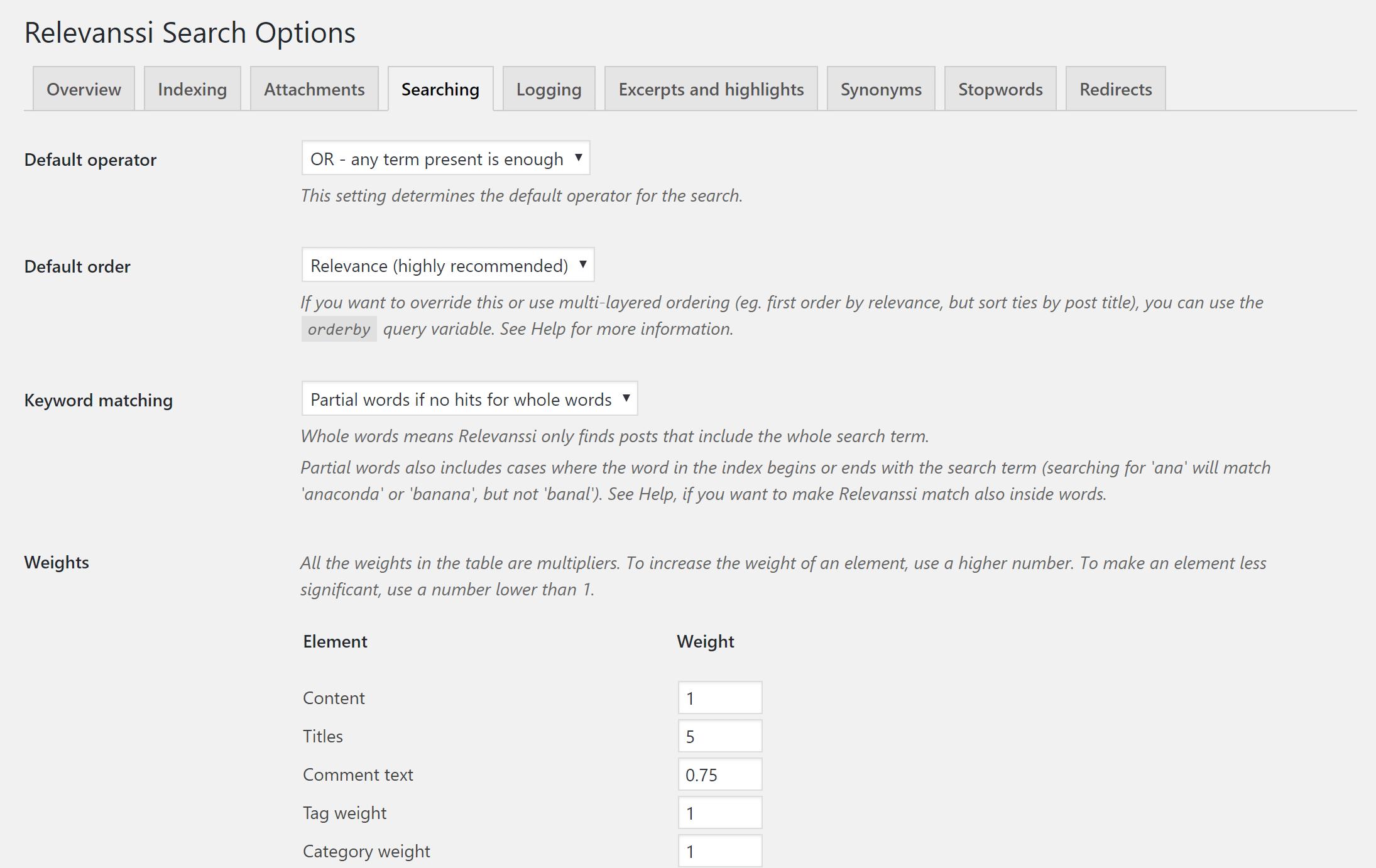 Relevanssi settings