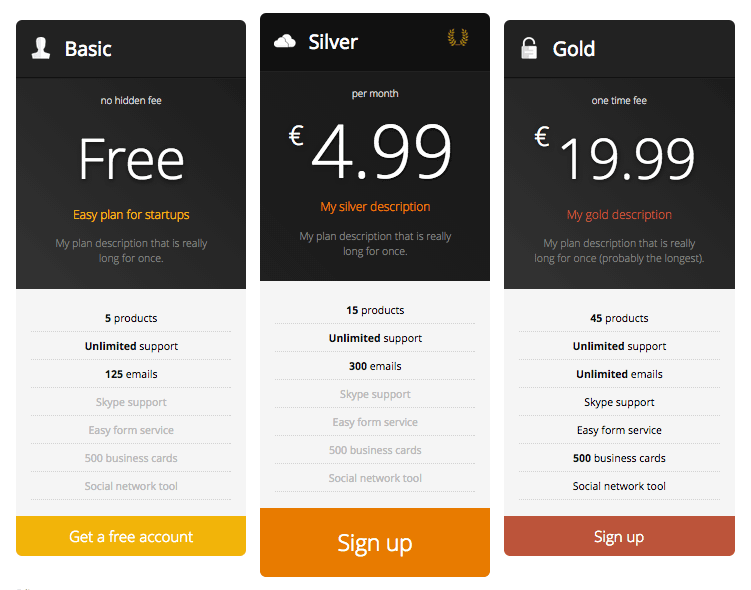 Responsive Pricing Table 01