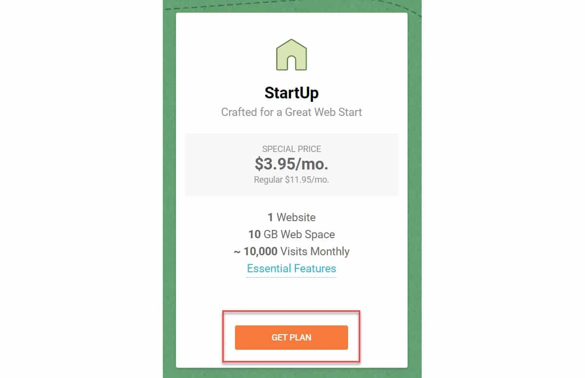 SiteGround StartUp hosting plan