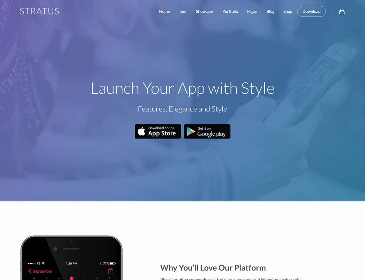 Stratus-app-showcase-wordpress-theme