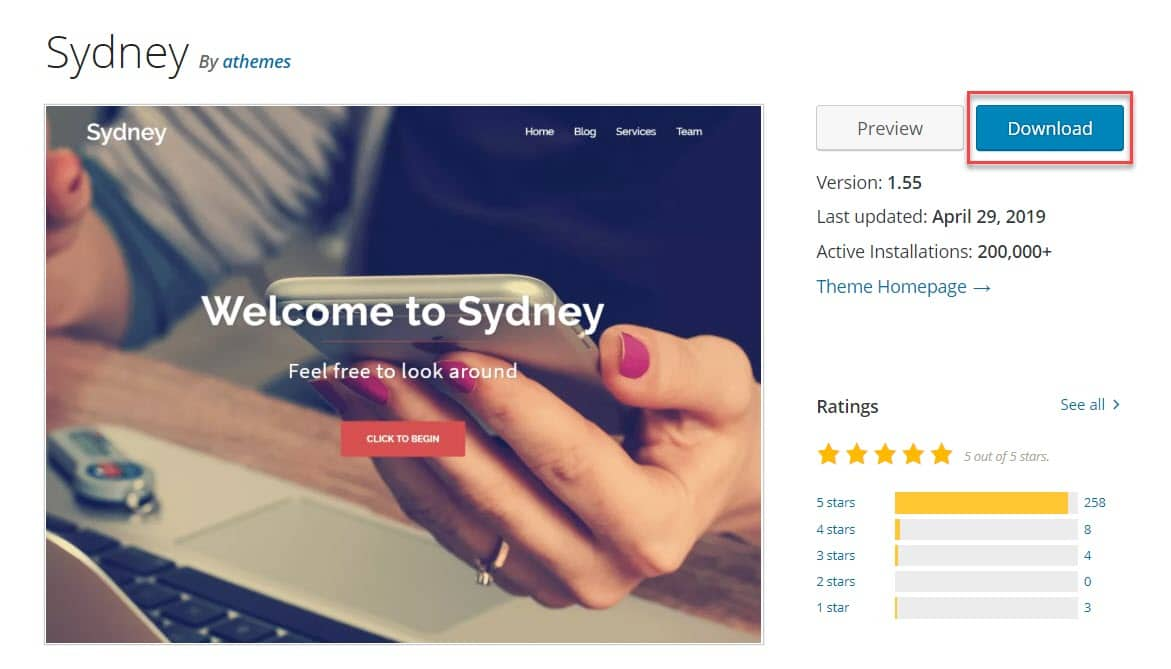 Sydney download from WordPress repo