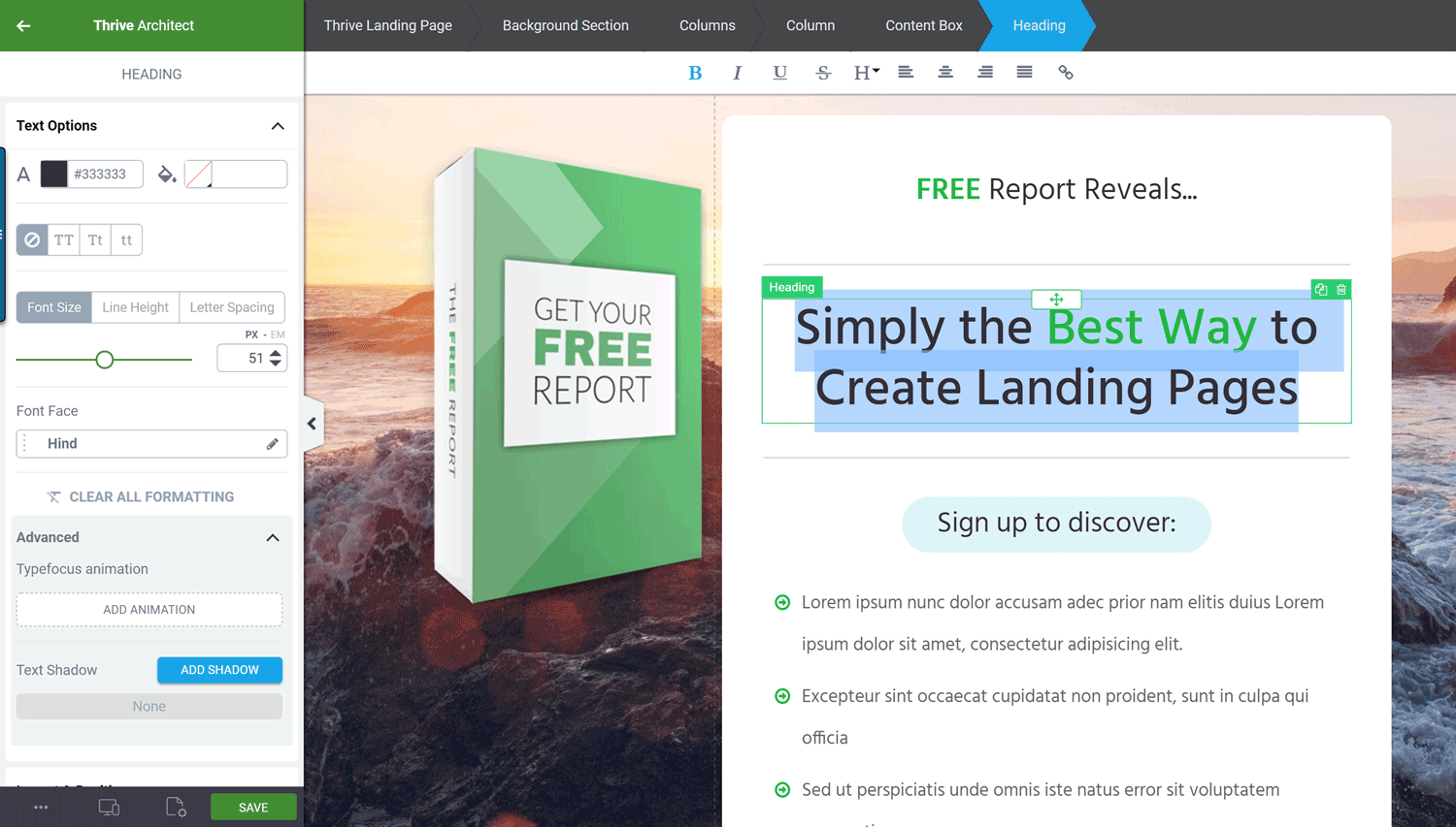 Editing a Landing Page Template