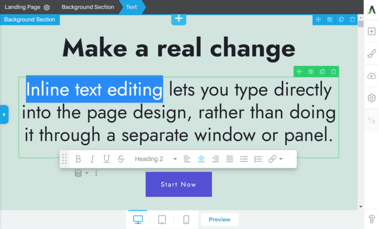 Inline text editing