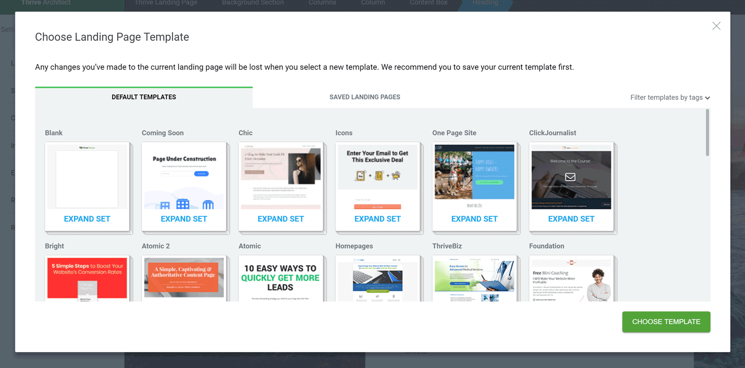 Thrive Architect Review Landing Page Selector