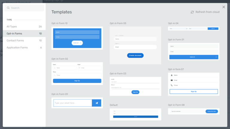 Opt-in form templates
