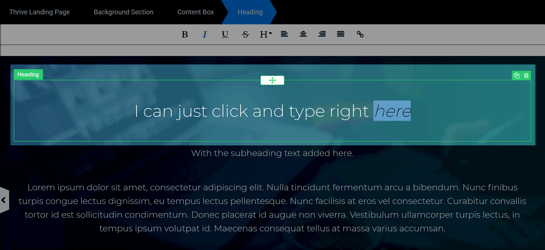 Thrive Architect Inline Editing