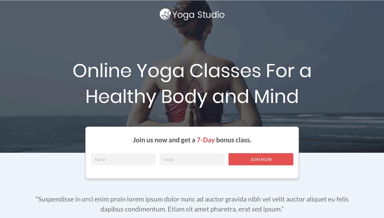 Yoga Template Homepage