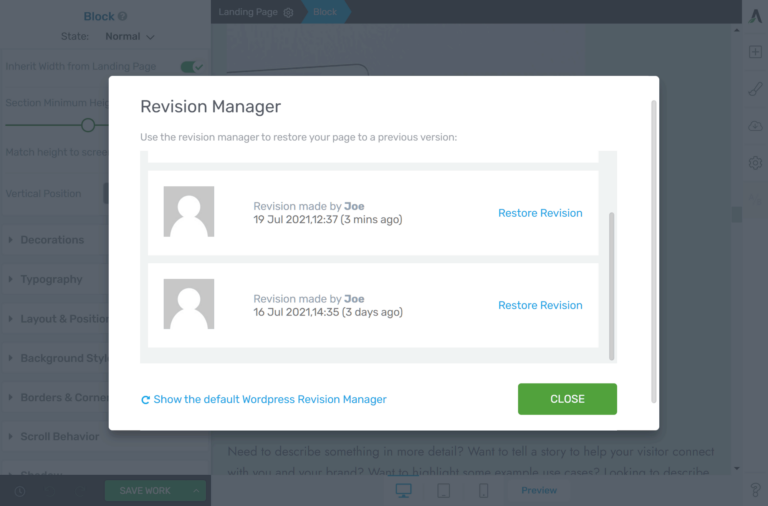 Thrive Architect Revision Manager