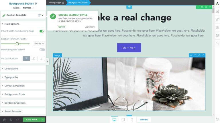 Thrive Architect user interface