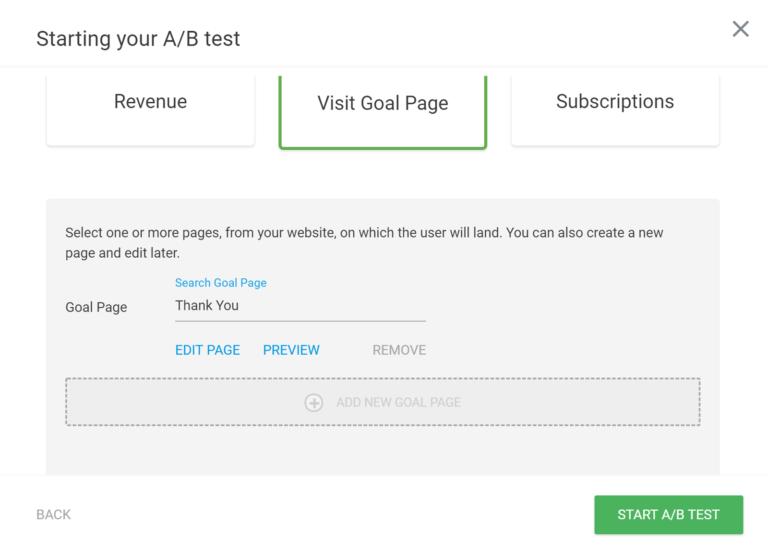 A/B Test Goal Settings