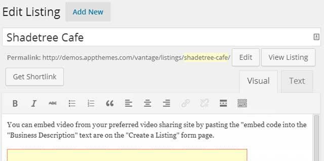 Vantage Create Listing Post