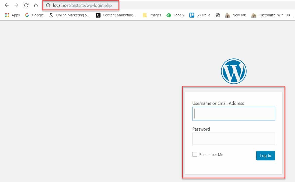 Log in to your local WordPress install