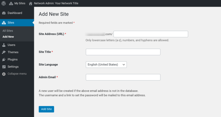 The 'Add New Site' screen in WordPress Multisite.