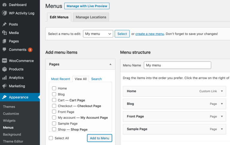 Adding posts and pages to a menu.
