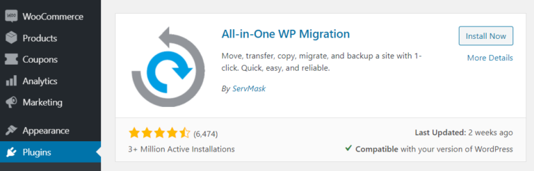 The All-In-One WP Migration plugin