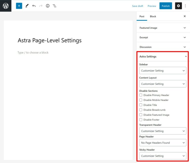 Astra page-level settings