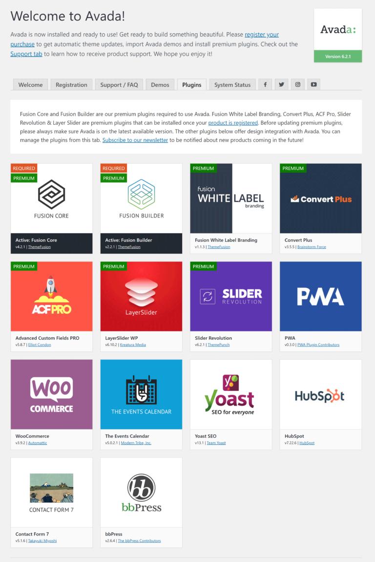 Avada Plugins Page