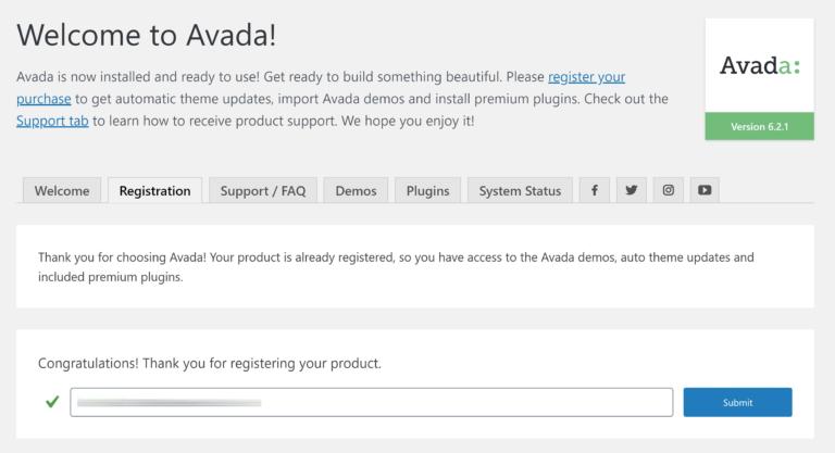 Avada Register Product